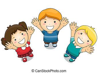 su, niños, levantar, manos