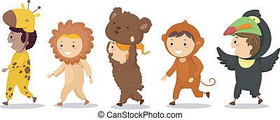 su, niños, trajes, animal