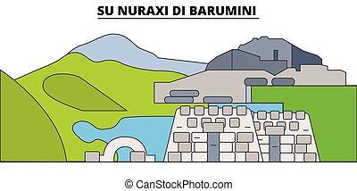 Su Nuraxi Di Barumini line travel landmark, skyline, vector...