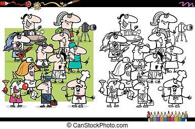 su, ocupaciones, caricatura, ilustración, gente