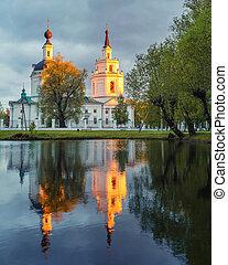 su, ortodox, pond., reflexión, iglesia