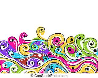 su, patrón, resumen, onda, plano de fondo, dibujado, mano, ...