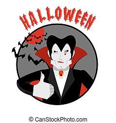 su., pauroso, pollice, ammiccare, halloween, emblem., allegro, dracula, vacanza, mostra