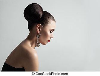 su., perfetto, acconciatura, donna, carino, fare, giovane, eyeliner, panino dolce capelli, femmina, modello, portrait., profilo