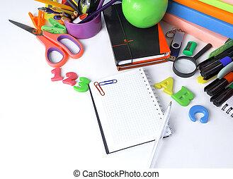 su., .photo, spazio, blocco note, penna, fondo, chiudere, bianco, copia, aperto