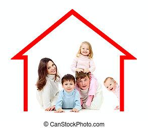 su, poseer, casa de familia, feliz, concepto