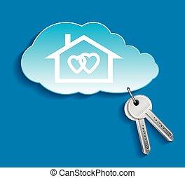 su, poseer, nube, amantes, casa, concepto, privado