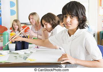 su, profesor, clase de arte, alumnos