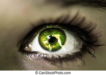 su., ragazza, occhio, macro, verde, chiudere