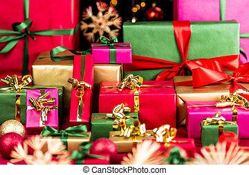 su, regali, abbondanza, natale, accatastato