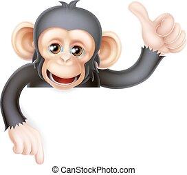 su, scimpanzé, scimmia, pollici, segno