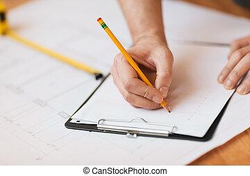su, scrittura, appunti, mani, chiudere, maschio