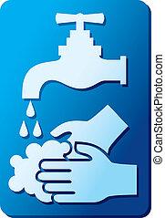 su, señal, manos, lavado