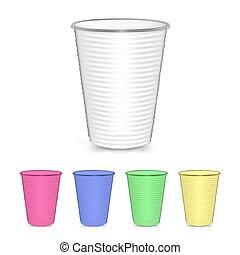 su, set., tazza, isolato, illustrazione, plastica, fondo., vettore, bianco, tuo, beffare, design.