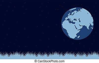 su, sfondo blu, giorno terra