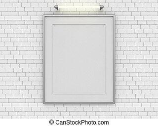 su, stanza, manifesto, wall., vuoto, beffare, 3d