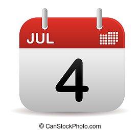 su, stare in piedi, luglio, calendario