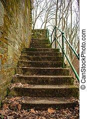 su, suburbano, esso, ciottolo, parete, prossimo, parco, set, dall'aspetto, vecchio, pennsylvania, scale