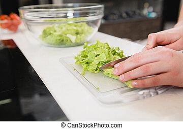su, taglio, asse, verde, chiudere, insalata