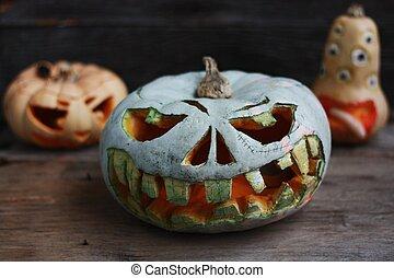 su, tavola, zucche, legno, halloween, chiudere, pauroso