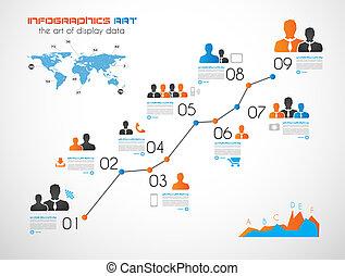 su, timeline, exhibición, elementos, infographic, datos