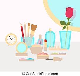 su, trucco, fare, illustrazione, concetto, vettore, appartamento, cosmetica
