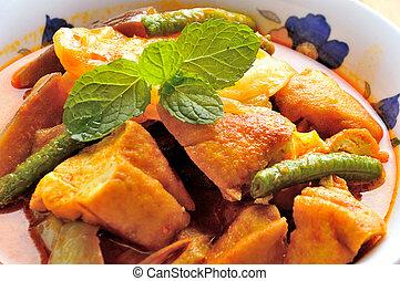 su, vegetariano, curry, chiudere, ciotola