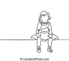 su, vestito, piccola ragazza, seduta