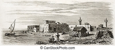 Suakin old view, Sudan. Created by Girardet after Lejean,...