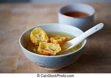 suan, mung, 生地, tau, フリッター, 知られている, 揚げられている, 豆, シンガポール, デザート
