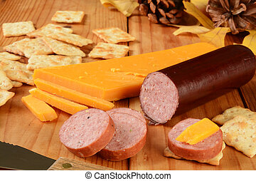 Suasage and cheese - Summer sausage and cheese with...
