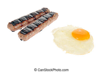 Suasage and eggs on white - Bratwurst sausages and a fried...