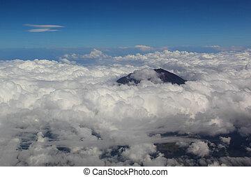 suave, encima, nubes, vista