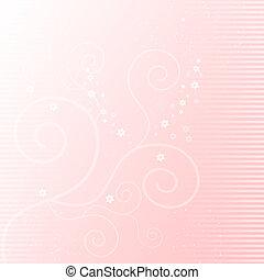 suave, fondo rosa, con, elementos florales