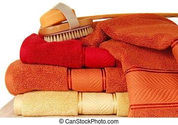 suave, lujoso, toallas, con, jabón, y, cepillo