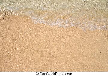 suave, onda, de, el, mar, en, el, playa arenosa