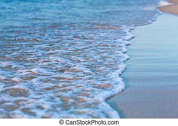 suave, onda, de, el, mar, en, un, playa arenosa