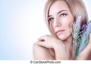 suave, retrato mulher
