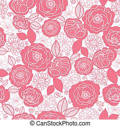 suave, rosa, y, blanco, florals, seamless, patrón, plano de...