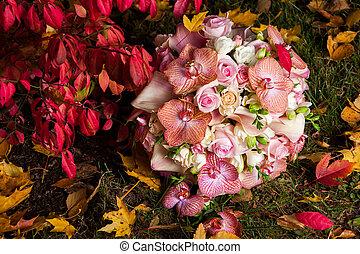 suave, rosas, buquê nupcial, orquídea