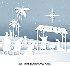 suave, sombras, blanco, silueta, escena natividad navidad, con, magi