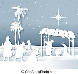 suave, sombras, blanco, silueta, escena natividad navidad,...