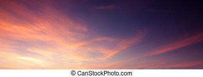 suave, y, colorido, cielo de puesta de sol