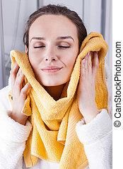 suavidade, desfrutando, toalha