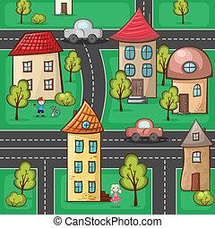 subúrbios, e, casas