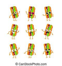Sub Character - vector set of mascot illustrations.