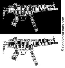 Sub machine gun info-text graphics and words cloud. Military and war concept. Very large file