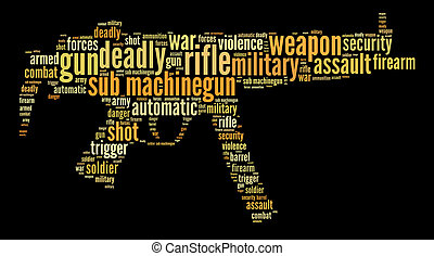 Sub machine gun info-text graphics and words cloud. Military and war concept.