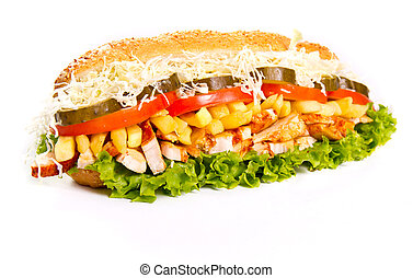 Sub sandwich with grilled chicken
