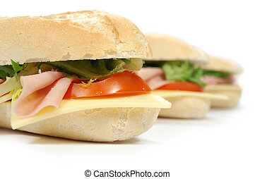 Sub sandwich baguettes with ham and cheese